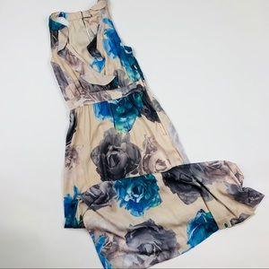 H&M Floral Satin Faux Wrap Maxi Dress Sz 4